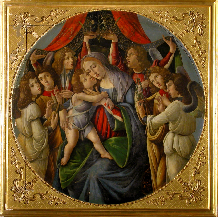 Sandro Botticelli and workshop (Italian, b. c1445, d.1510) Madonna and Child with Six Angels c1500. 165 x 165 cm (framed), 143 cm (diameter). Galleria Corsini, Florence.