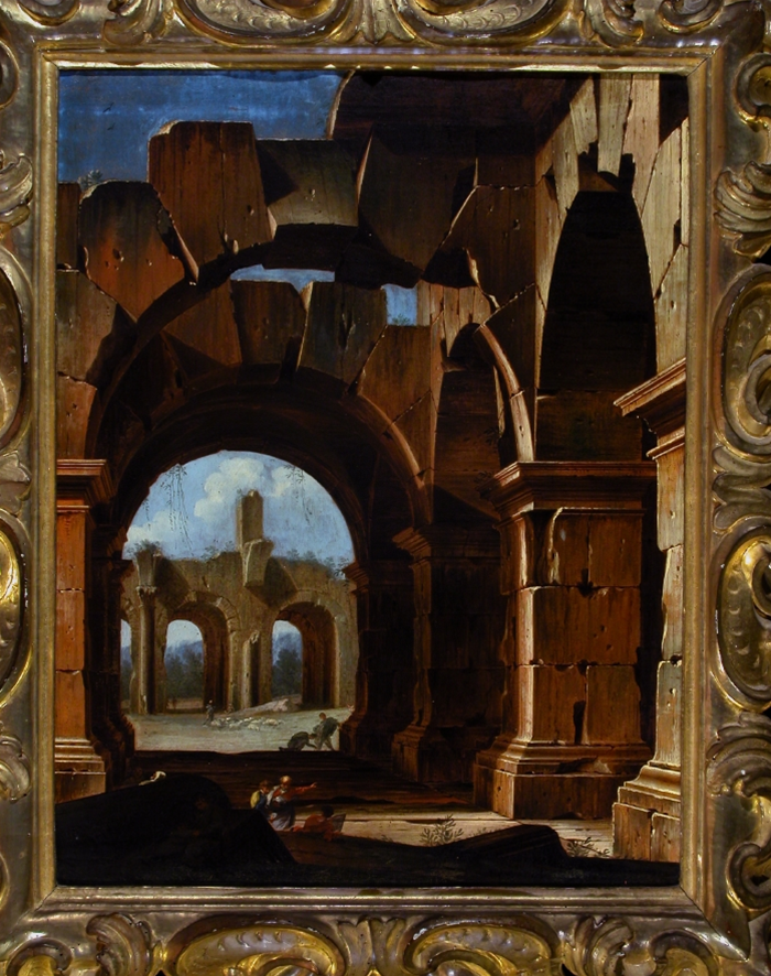 Niccolò Codazzi (Italian, b.1642, d.1693) Architecture in the countryside c1685-1693. Oil on canvas, 93.5 x 77.5 cm (framed), 67 x 53 cm (unframed). Galleria Corsini, Florence.