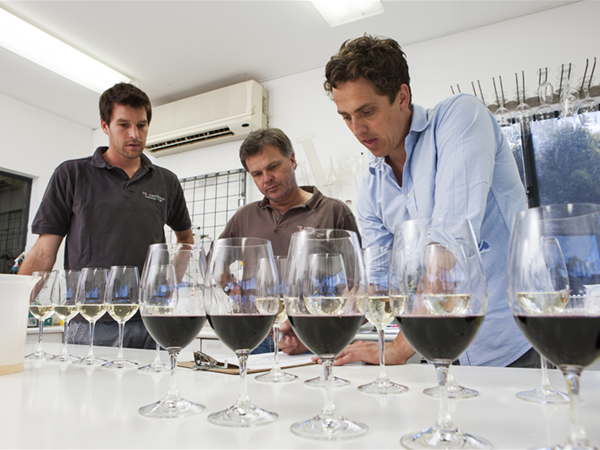 The Stella Bella winemaking team putting a blend together